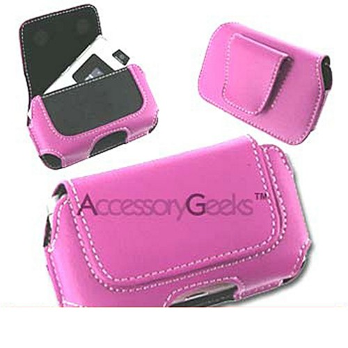 Motorola Razr V3 / Samsung A900 / Samsung M610 Horizontal Leather Holster Pouch Case - Baby Pink