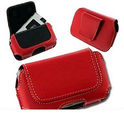 Motorola Razr V3 / Samsung A900 / Samsung M610 Horizontal Leather Holster Pouch Case - Red
