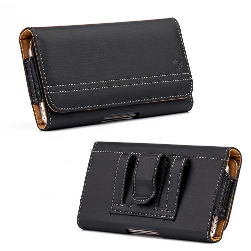 Horizontal Leather Holster Pouch w/ Magnetic Closure & Belt Clip for Samsung Galaxy Note Sized Phones [Black]