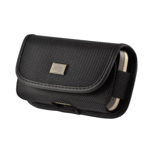 Black Universal Nylon Horizontal Holster Pouch w/ Velcro Closure & Steel Belt Clip for LG Voyager Sized Phones (BL)