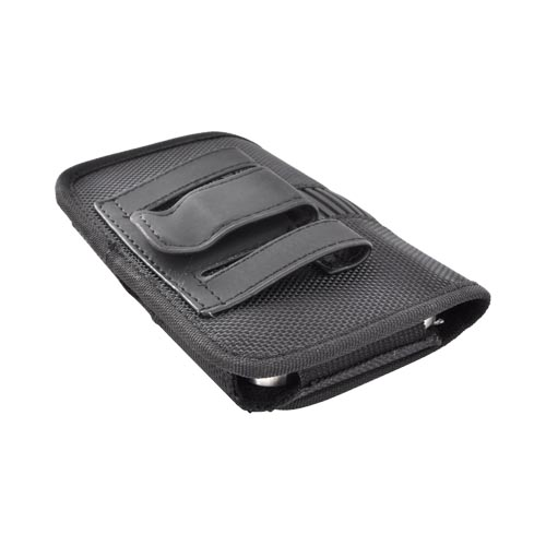 Universal Horizontal Nylon Pouch w/ Belt Clip, Rubber Trim, & Magnetic Closure - Black (PUTL)