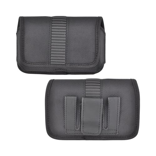 Universal Horizontal Nylon Holster Pouch w/ Belt Clip, Rubber Trim, & Magnetic Closure - Black (PUTL)