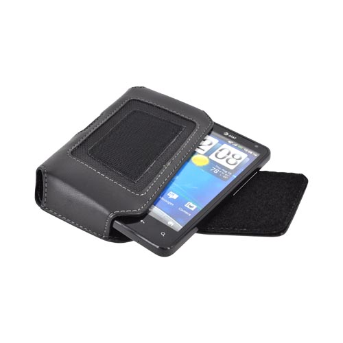 Universal Leather/ Nylon Horizontal Pouch w/ Velcro Closure & Belt Clip - Black (PUT2XL)