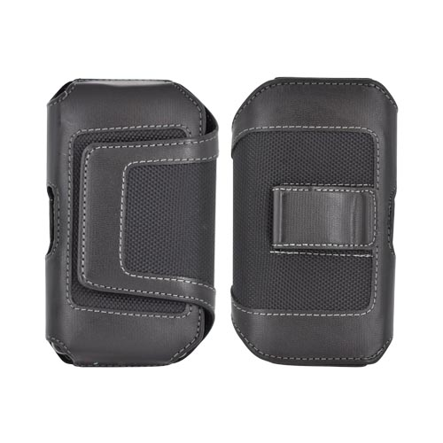 Universal Leather/ Nylon Horizontal Holster Pouch w/ Velcro Closure & Belt Clip - Black (PUT2XL)