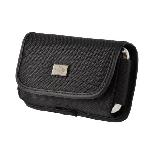 Black Universal Nylon Horizontal Holster Pouch w/ Velcro Closure & Steel Belt Clip for Apple iPhone 3G Sized Phones (PUT)