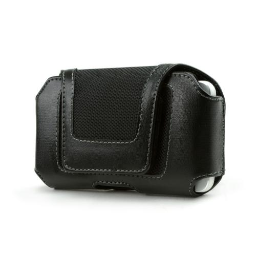 Universal Leather/ Nylon Horizontal Pouch w/ Velcro Closure & Belt Clip - Black (PUTXL)