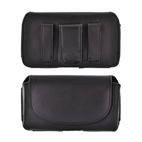 Premium Executive Faux Leather Horizontal Holster Pouch w/ Magnetic Closure & Belt Clips - Black (PUT, PUTS, PUTL size)