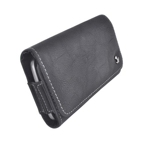 Horizontal Leather Pouch W/ Snap Close Magnet & Belt Clip For Samsung Galaxy S3, Htc One, & Motorola Droid Razr Hd Sized Phones - Black (put2xl)