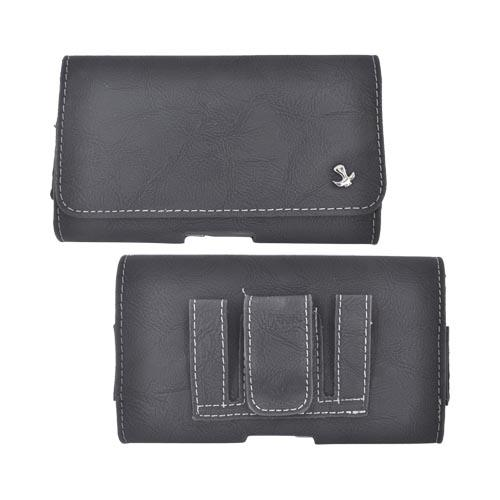 Universal Horizontal Leather Holster Pouch w/ Magnetic Closure & Belt Clip for Samsung Galaxy S3, HTC One, & Motorola DROID RAZR HD Sized Phones - Black (PUT2XL)