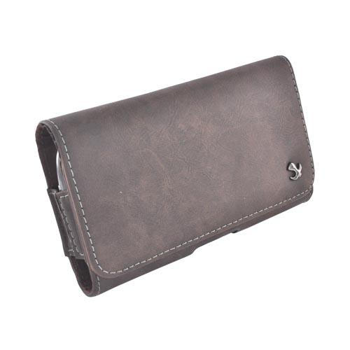 Universal Horizontal Leather Pouch w/ Belt Clip for Samsung Galaxy S4, HTC One, & Motorola DROID RAZR HD Sized Phones - Brown w/ White Stitching (PUT2XL)