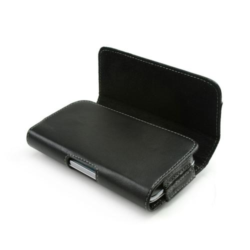 Universal Horizontal Leather Pouch w/ Magnetic Closure, Belt Clip, & Nylon Strip - Black (PUT2XL)