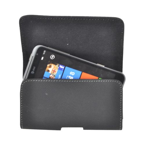 Horizontal Rubberized Leather Holster Pouch w/ Textured Waves, Magnetic Closure, & Belt Clip for Samsung Galaxy S3, HTC One, & Motorola DROID RAZR HD Sized Phones - Black (PUT2XL)