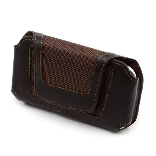 Universal Horizontal Leather & Nylon Pouch w/ Velcro Closure & Belt Clip for Universal Vertical Leather Pouch w/ Magnetic Closure & Belt Clip for Samsung Galaxy S3, HTC One, & Motorola DROID RAZR HD Sized Phones - Brown (PUT2XL)