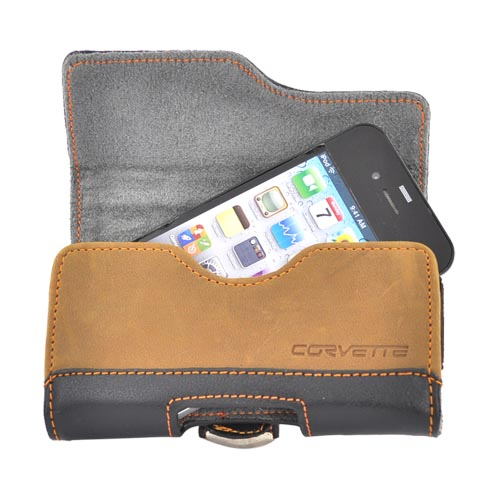 Original Corvette Horizontal Cell Phone Leather Pouch Case w/ Swivel Belt Clip - Black (PUT)