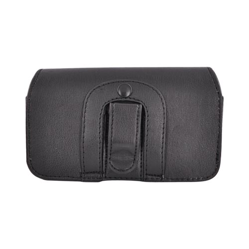 Universal Motorola Droid X Size Horizontal Leather Holster Pouch w/ Clip - Black (PUTXL)
