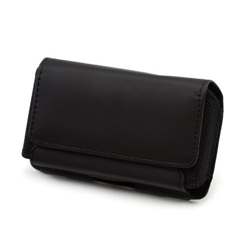 Premium Leather Horizontal Holster Pouch w/ Magnetic Closure & Belt Clip - Black (PUTXL)