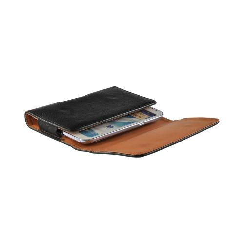 Black Universal Horizontal Leather Pouch w/ Magnetic Closure & Belt Clip for Samsung Galaxy Note 1, 2, or 3