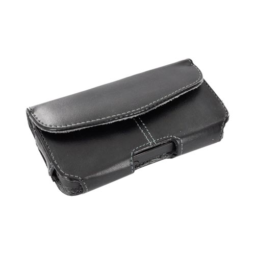 Universal Leather Horizontal Holster Pouch w/ Velcro Closure, Inner Pocket, & Belt Clip - Black (PUT)