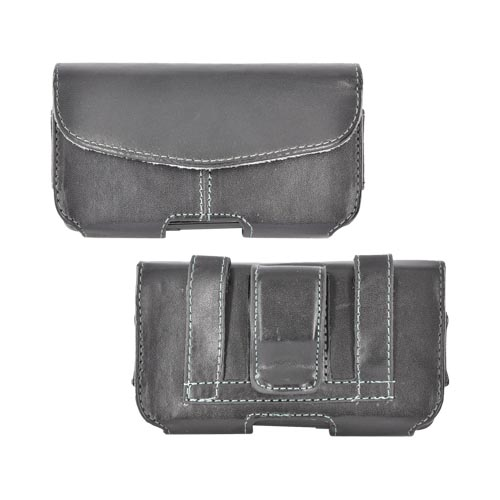 Universal Leather Horizontal Pouch w/ Velcro Closure, Inner Pocket, & Belt Clip - Black (PUT)
