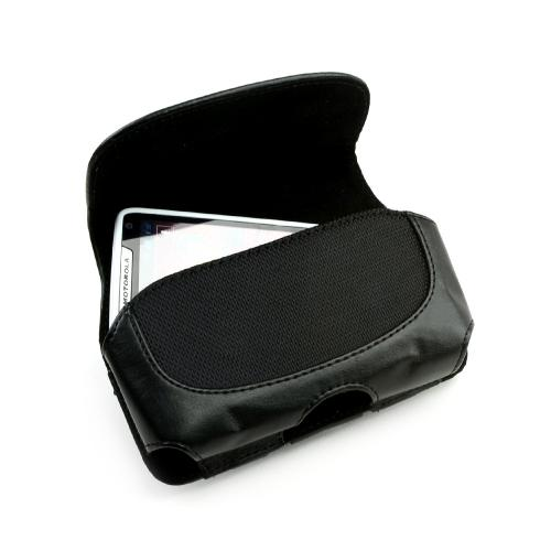 Universal Leather Horizontal Pouch w/ Velcro Closure & Belt Clip - Black (PUT2XL)