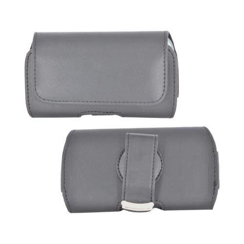 Universal Leather Horizontal Pouch w/ Velcro Closure & Swivel Belt Clip - Black (PUTS)