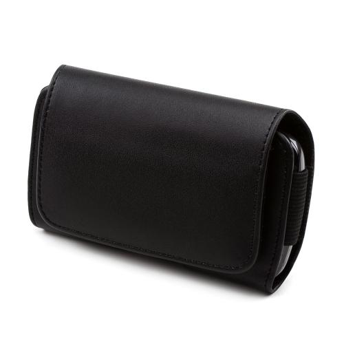 Universal Leather Horizontal Pouch w/ Velcro Closure & Swivel Belt Clip - Black (PUTXL)