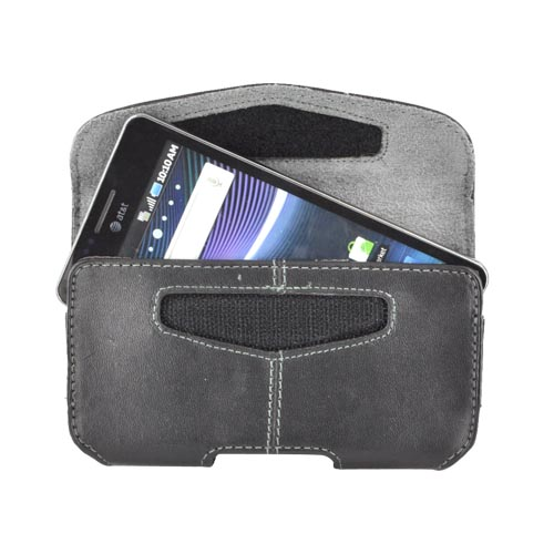 Universal Horizontal Leather Pouch w/ Velcro Closure, Interior Pocket, & Belt Clip - Black (PUTXL)