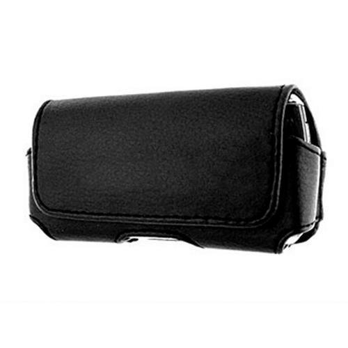 Universal Horizontal Leather Holster Pouch w/ Magnetic Closure and Belt Clip- Black (BL)
