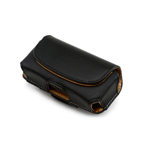 Premium Hard Black Oil Leather Pouch w/Hidden Magnetic Closure - Medium (BM)