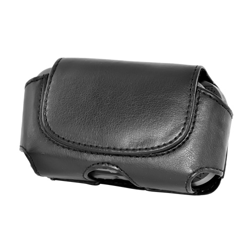 Premium Hard Black Oil Leather Pouch w/Hidden Magnetic Closure- Medium (FM)