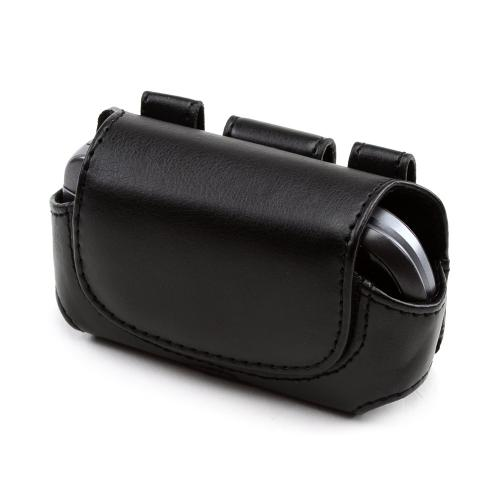 Premium Hard Black Oil Leather Pouch w/Hidden Magnetic Closure-Small (FS)