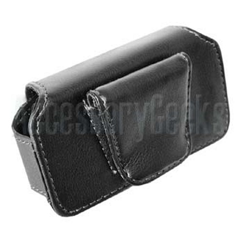 Premium Hard Black Oil Leather Pouch with Hidden Magnetic Closure - PDA