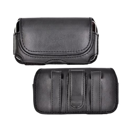 Universal Horizontal Oil Leather Pouch W/ Magnetic Closure - Black (BL)