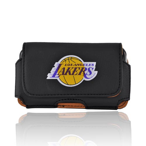 Licensed NBA Universal Los Angeles Lakers Horizontal Leather Pouch - Black (PUT)