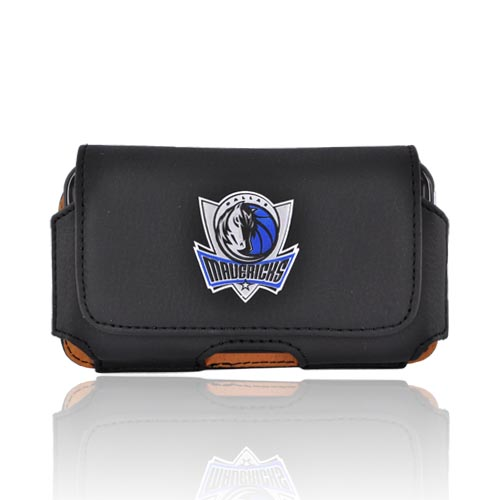 Licensed NBA Universal Dallas Mavericks Horizontal Leather Holster Pouch - Black (PUT)