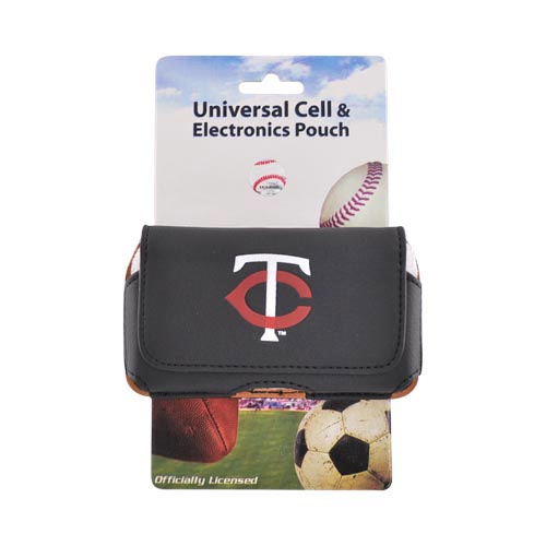 MLB Licensed Horizontal Cell Phone Holster Pouch Case w/ Belt Clip - Minnesota Twins (PUT)