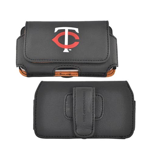 MLB Licensed Horizontal Cell Phone Pouch Case w/ Belt Clip - Minnesota Twins (PUT)