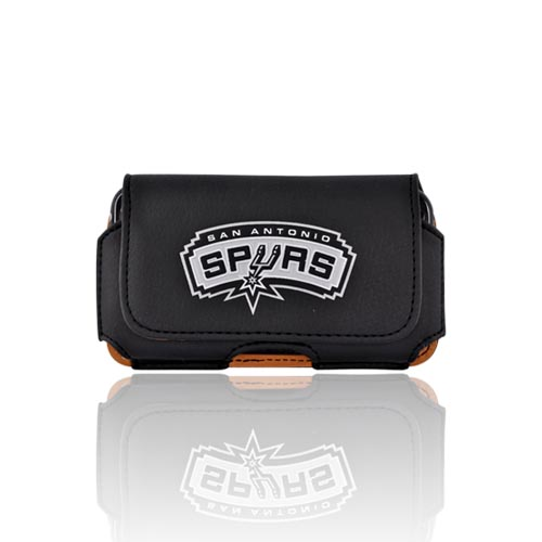 Licensed NBA Universal San Antonio Spurs Horizontal Leather Pouch - Black (PUT)