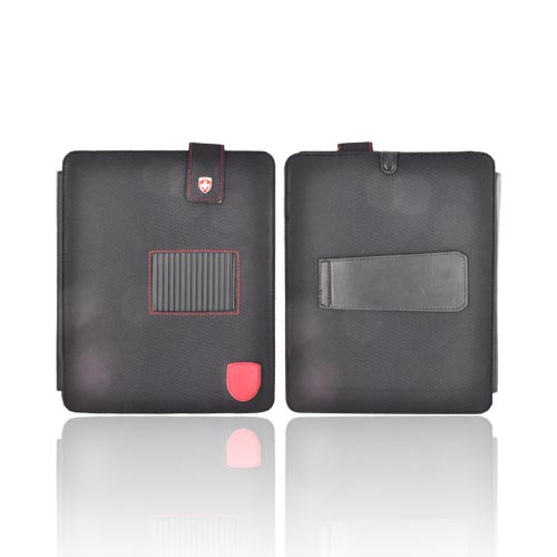 Original Swiss Leatherware Apple iPad Nylon Stand Case w/ Snap Closure & Pockets - Black w/ Red Stitching