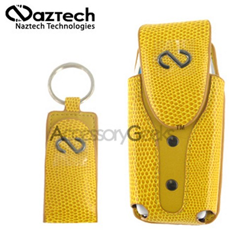 Naztech Boa Vertical Case with Money Clip Key Chain - Yellow Snake Skin