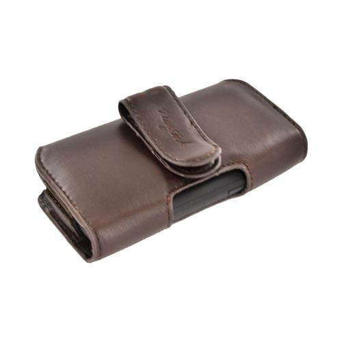 Original Naztech Marquee Universal Horizontal Leather Holster Pouch w/ Nylon Accents, Belt Clip & Magnetic Closure - Brown (PUTL)