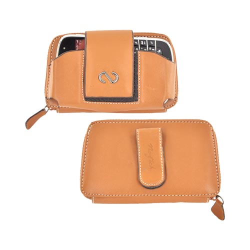 Original Naztech Voyage Universal Leather Pouch w/ Zipper Enclosed Wallet, Magnetic Closure, & Belt Clip - Brown (PUTL)