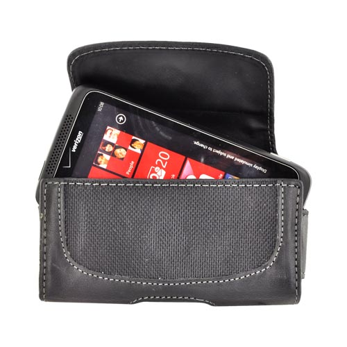 Original Naztech Regent Horizontal Leather Holster Pouch & Nylon w/ Belt Clip & Magnetic Closure - Black (PUTS)
