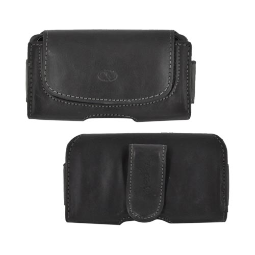 Original Naztech Regent Universal Horizontal Leather Holster Pouch & Nylon w/ Belt Clip & Magnetic Closure - Black (PUTS)