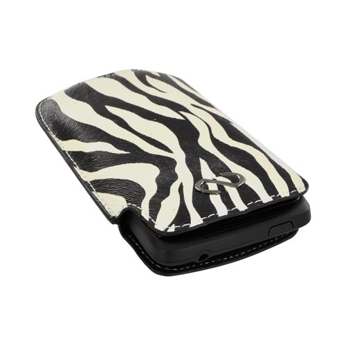 Original Naztech Safari Vertical Leather Pouch - Black Zebra on White (PUTS)