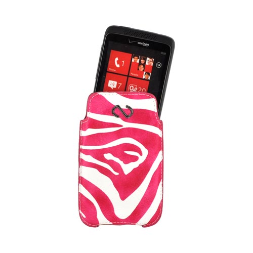 Naztech Safari Universal Vertical Leather Pouch - Hot Pink Panther on White (PUTS)