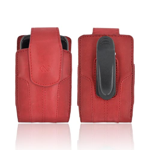 Original Naztech Kaskade Universal Vertical Leather Pouch w/ Rotating Belt Clip & Magnetic Closure - Red