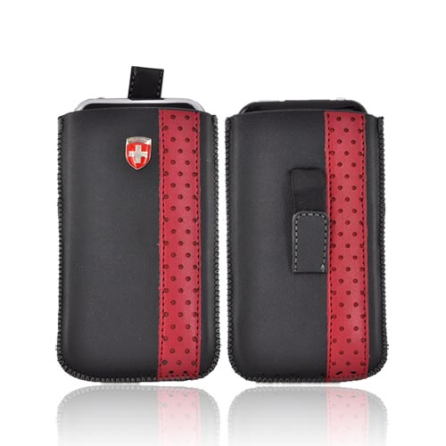 Naztech Apple iPhone 4S, AT&T/Verizon iPhone 4, 3G 3GS Pouch Case Leather w/ Pull Tab - Red Polka Dot Stripe Design On Black (PUT)