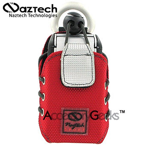 Naztech Sport Phone Case w/ Belt Clip, Armband, Neckstrap & Utility Clip - American Red