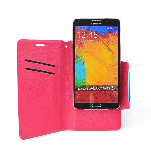 Hot Pink Wallet Case [pu/faux Leather] Magnetic Flap Closure For Samsung Galaxy S5/ Note 3 Sized Phones